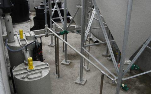 Kalklöschanlage, Siloaustrag Branntkalk, Förderschnecke, InjektorLöschbehälter, Verdünnungsbehälter, Brüdenwäscher