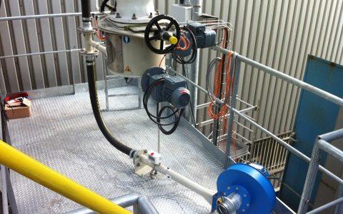 Silo Austrags- und Dosiergerät DDS 400 mit Handrad-Absperrung, pneumatische Förderung Kalk