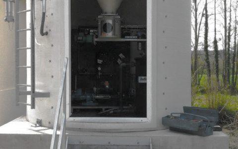 Silo Austrags- und Dosiergerät DDS 400, Pulveraktivkohle Dispergierer Sodimix, Wasserdosiertafel in Silo-Zarge