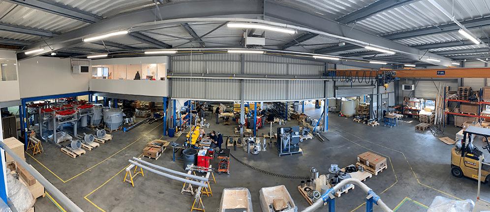 Blick in die Fabrikations-Hallen der Sodimate-Zentrale in Cormeilles en Parisis